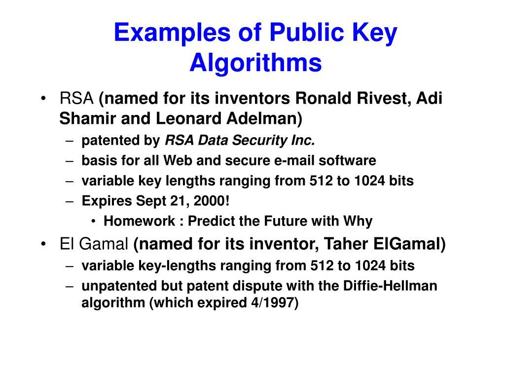 Examples of Public Key Algorithms
