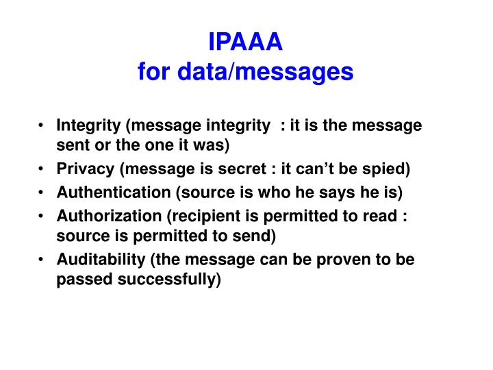 Ipaaa for data messages