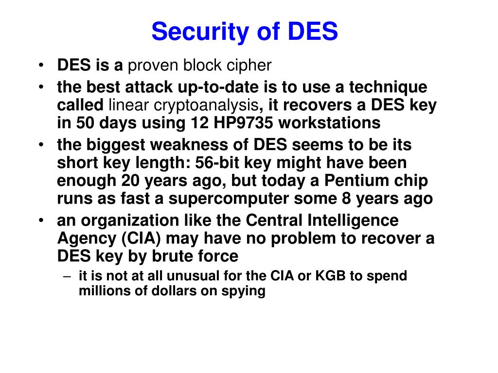 Security of DES