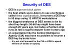 security of des