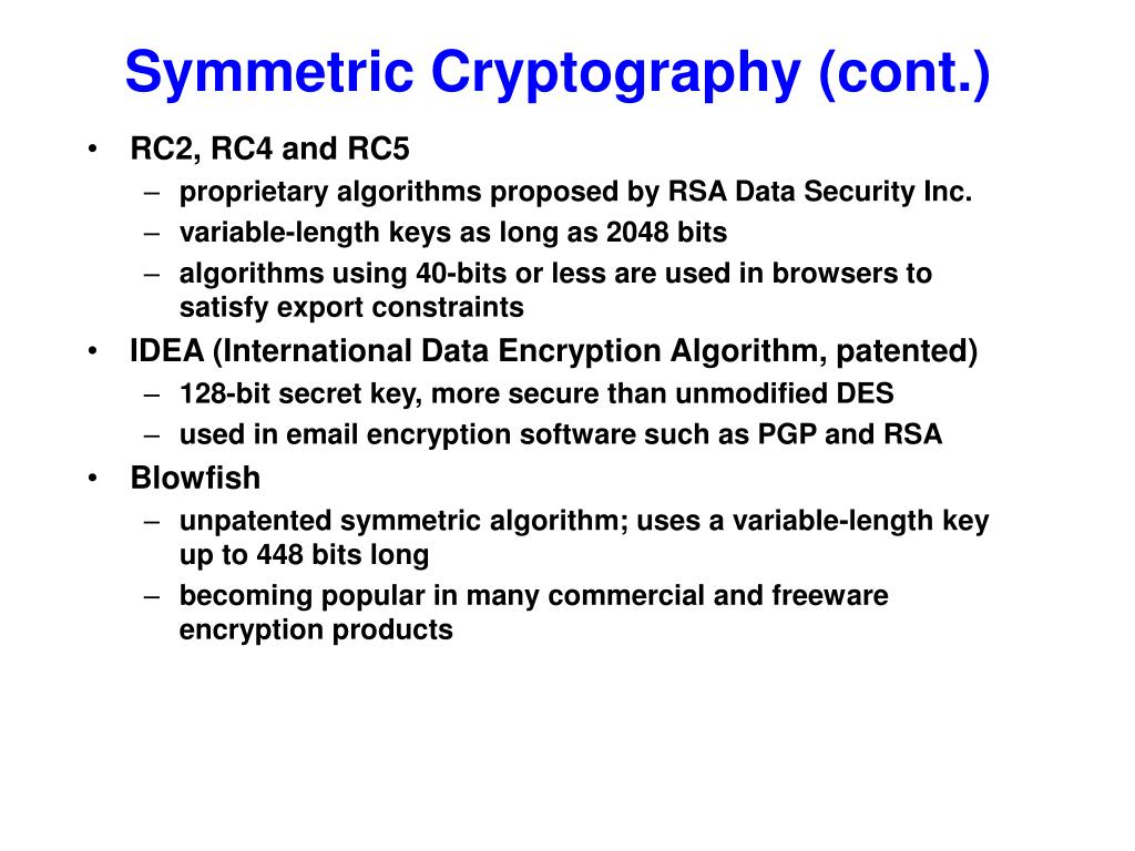 Symmetric Cryptography (cont.)