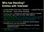 who has standing entities with interests