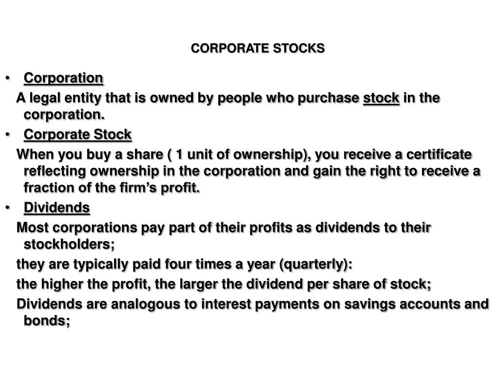 CORPORATE STOCKS