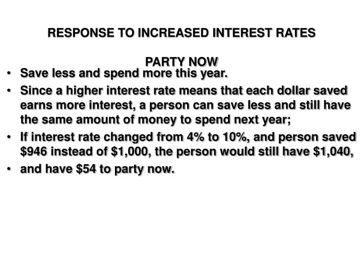 Response to increased interest rates party now