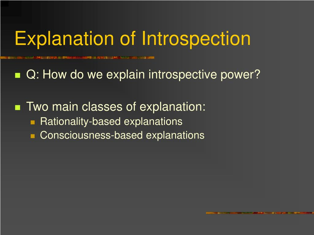 Explanation of Introspection
