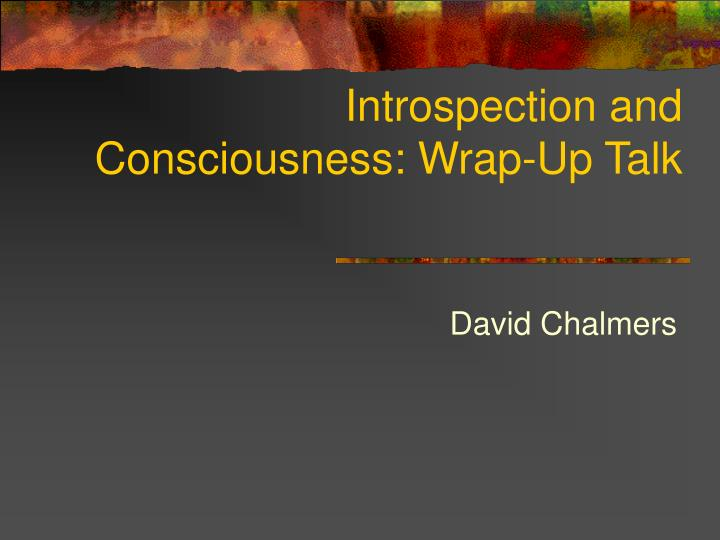 Introspection and consciousness wrap up talk