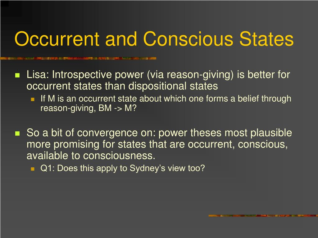 Occurrent and Conscious States