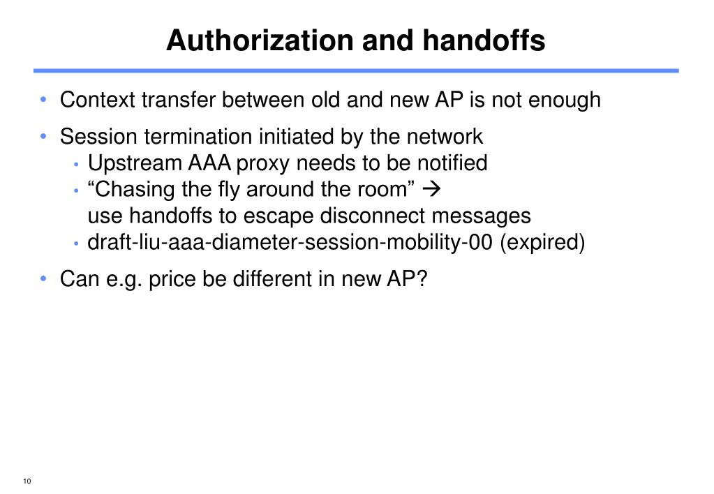 Authorization and handoffs