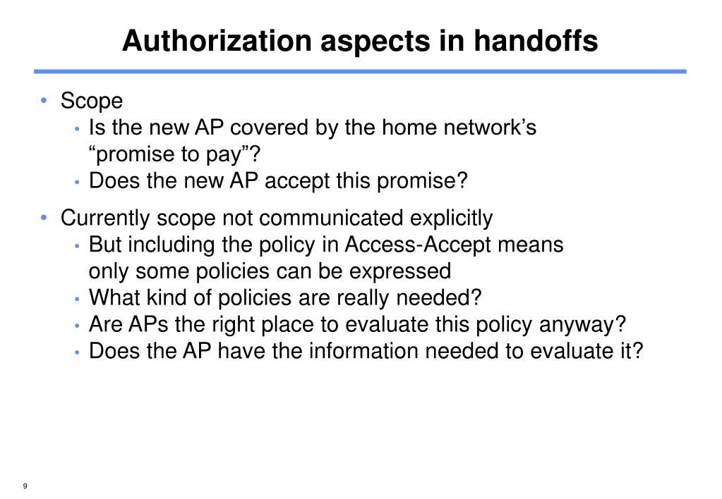 Authorization aspects in handoffs