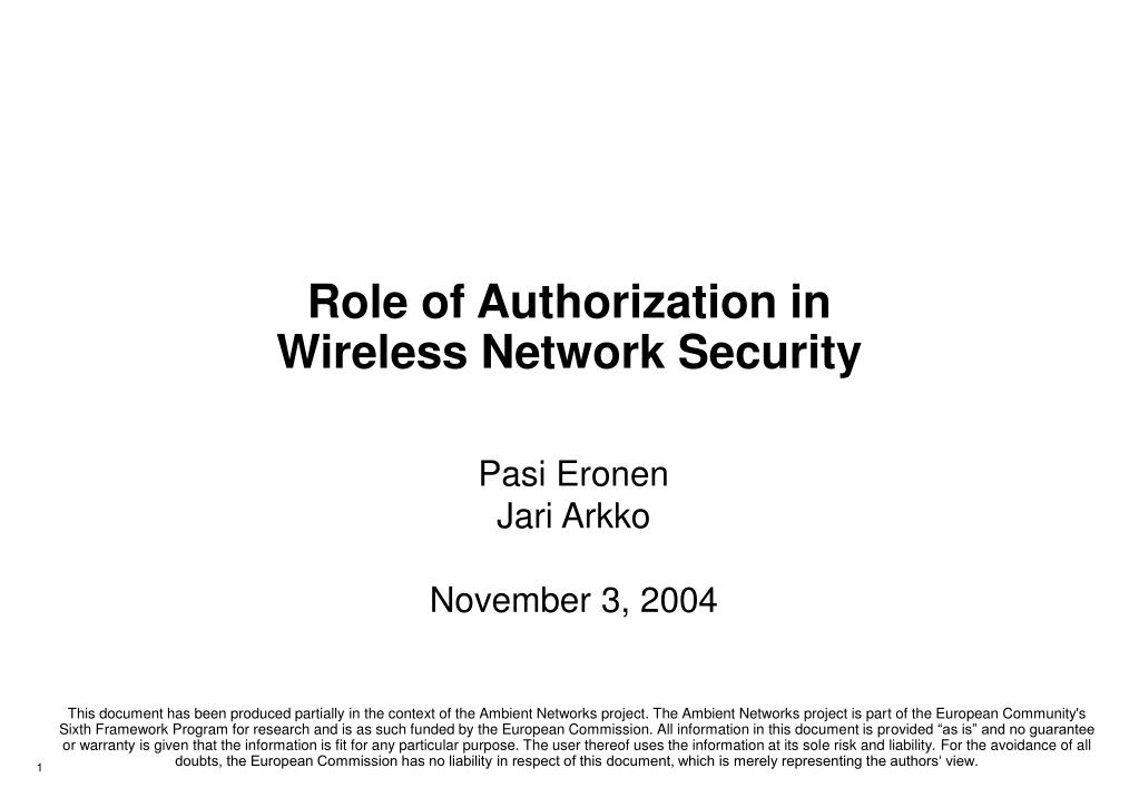Role of Authorization in