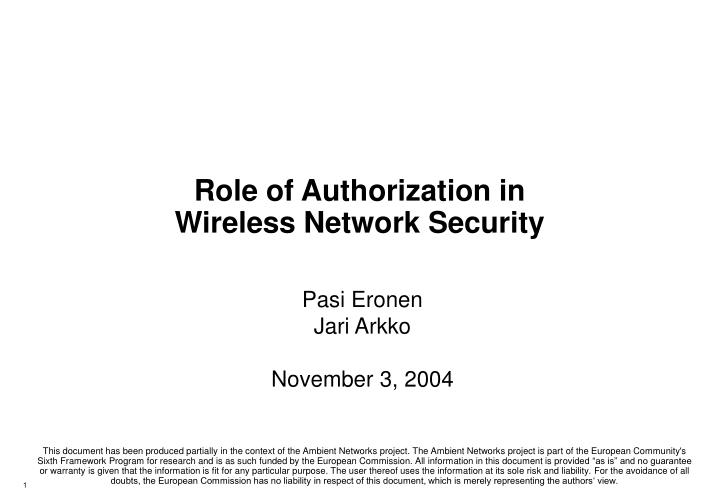 Role of authorization in wireless network security