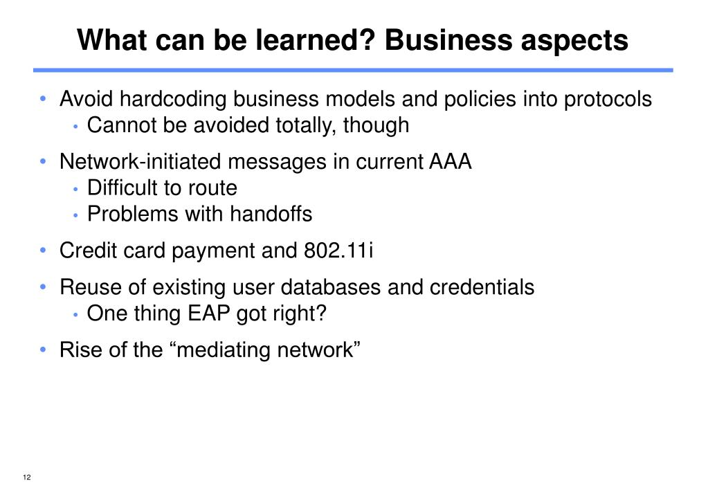 What can be learned? Business aspects