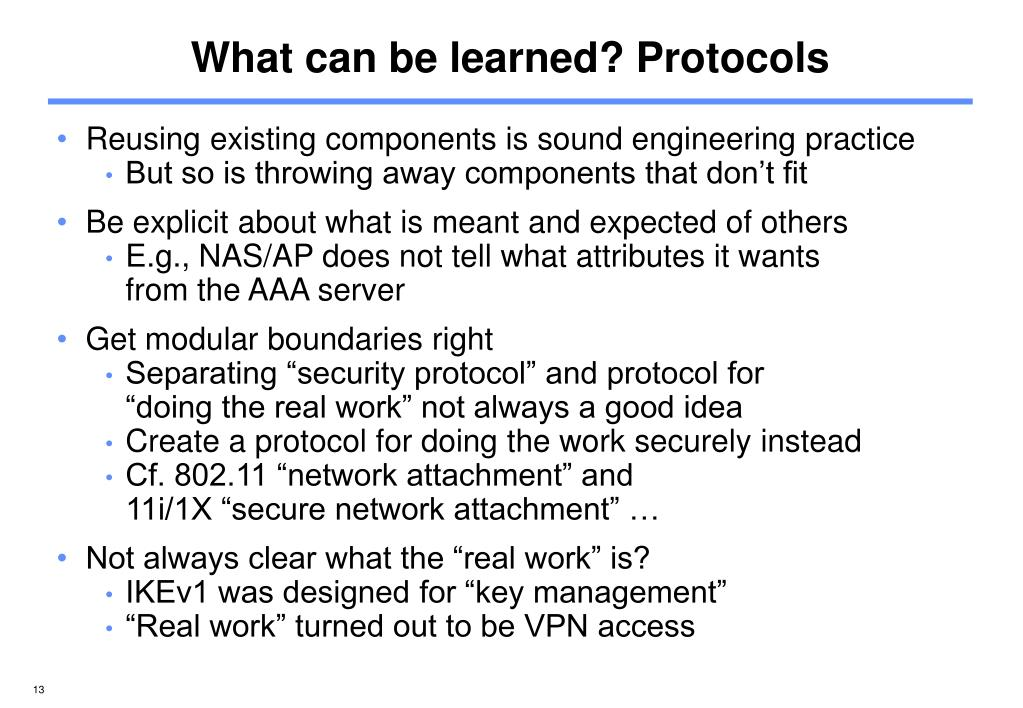 What can be learned? Protocols