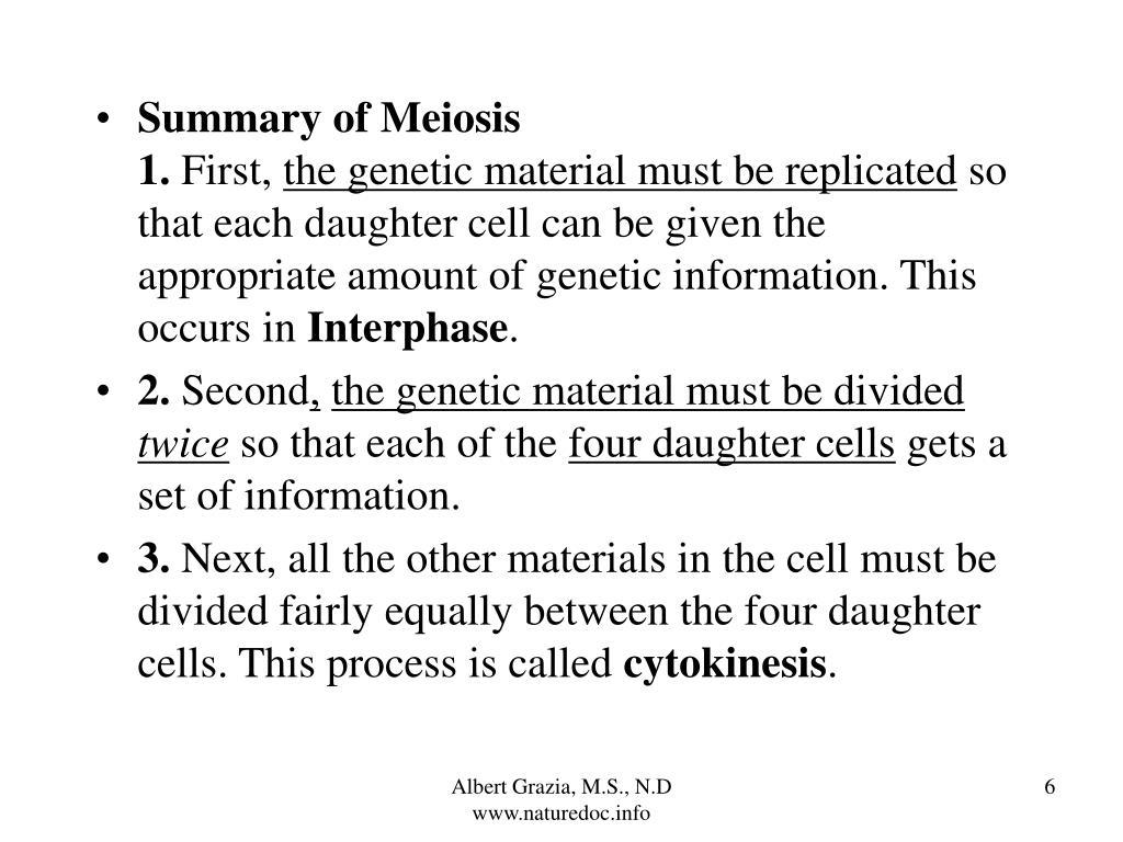 Summary of Meiosis