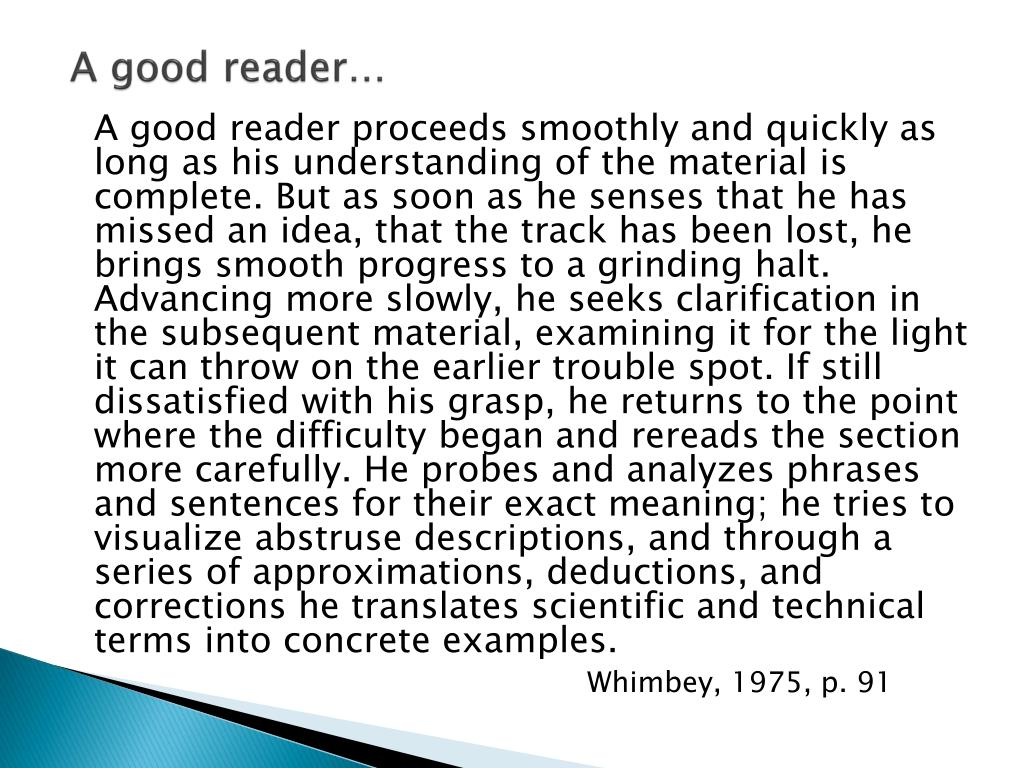 A good reader…