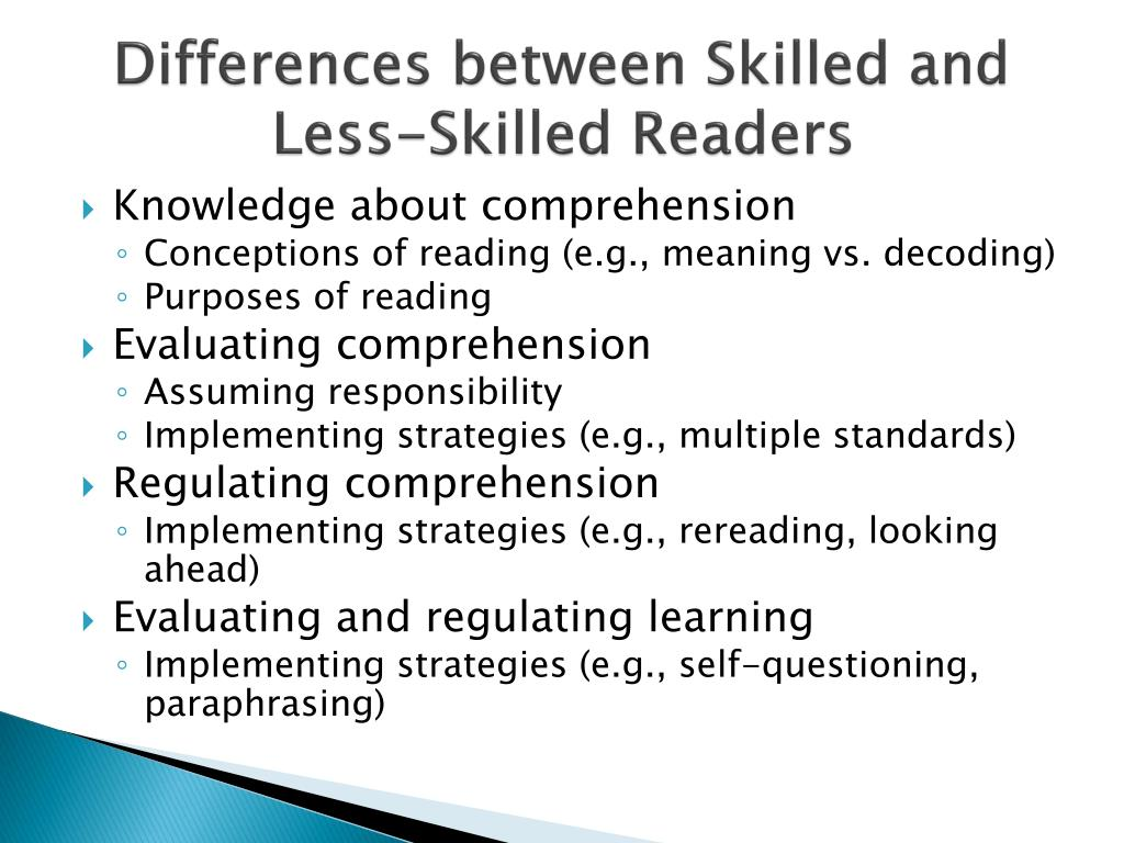 Differences between Skilled and Less-Skilled Readers