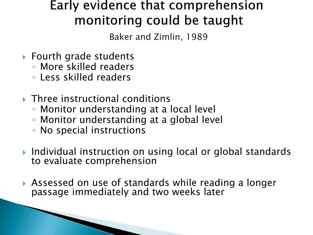Early evidence that comprehension