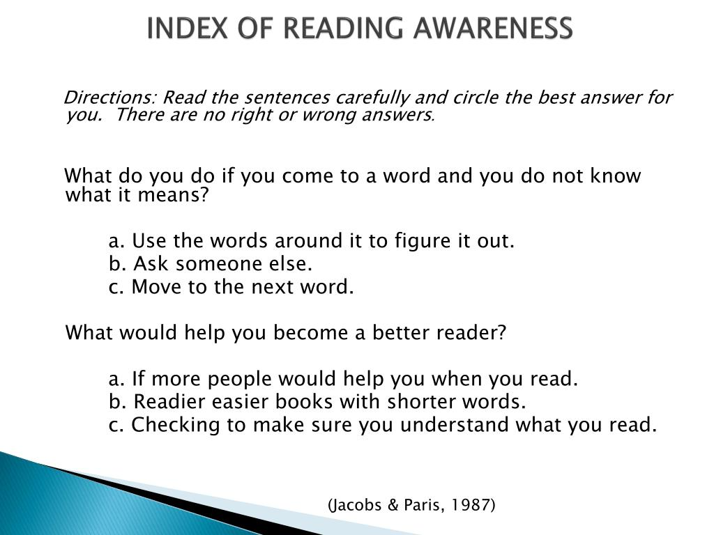 INDEX OF READING AWARENESS