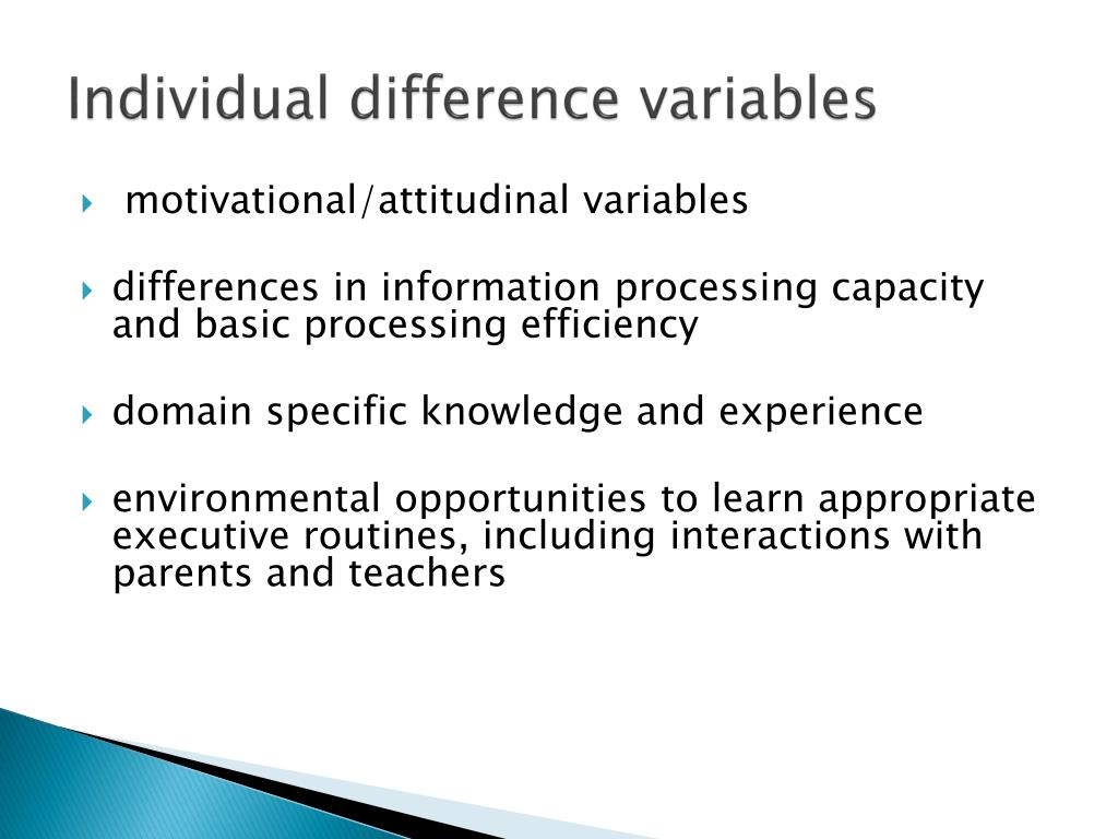 Individual difference variables