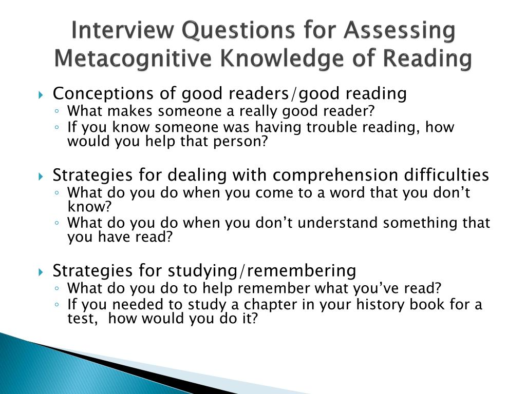 Interview Questions for Assessing Metacognitive Knowledge of Reading