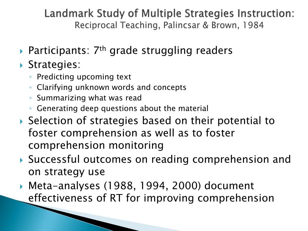 Landmark Study of Multiple Strategies Instruction:
