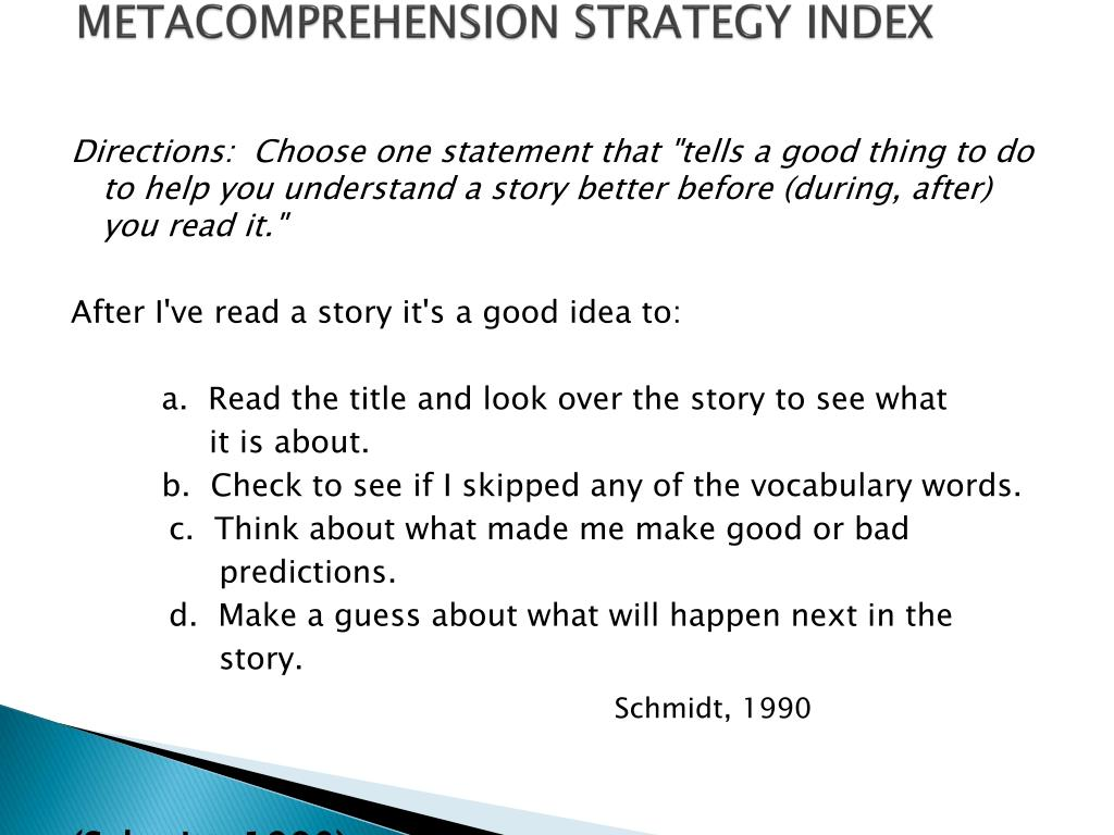 METACOMPREHENSION STRATEGY INDEX