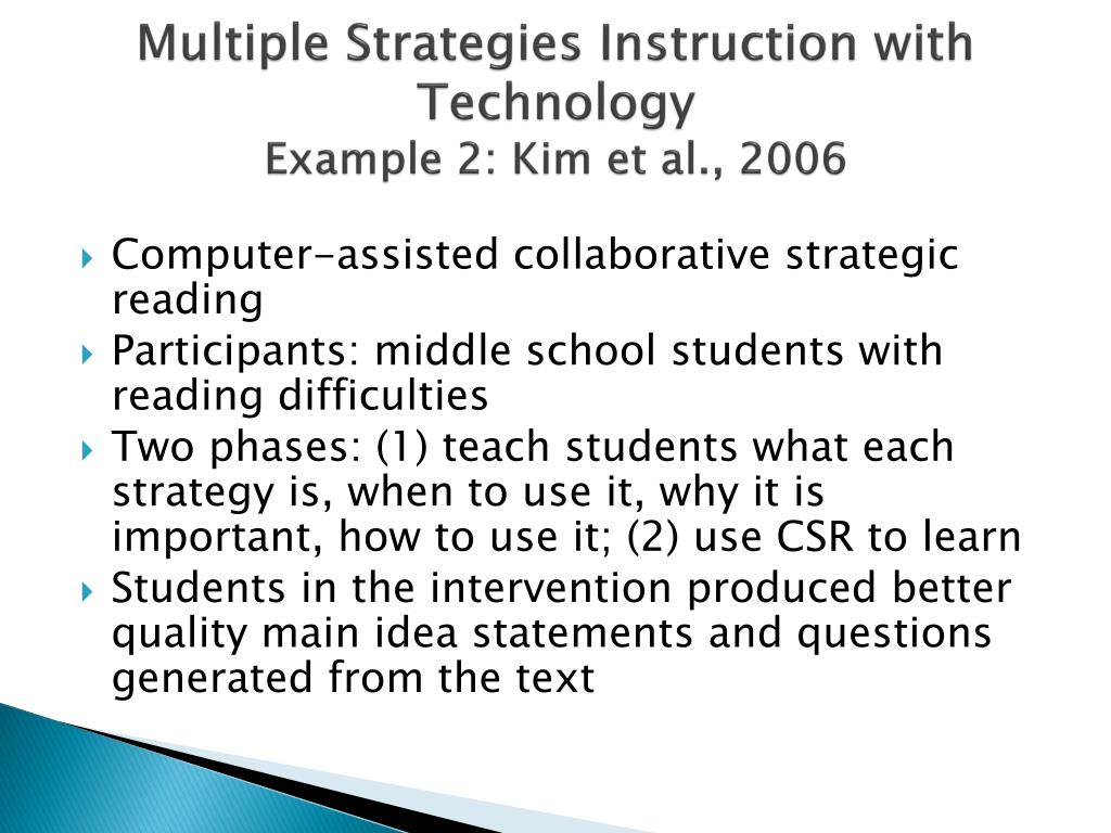 Multiple Strategies Instruction with Technology