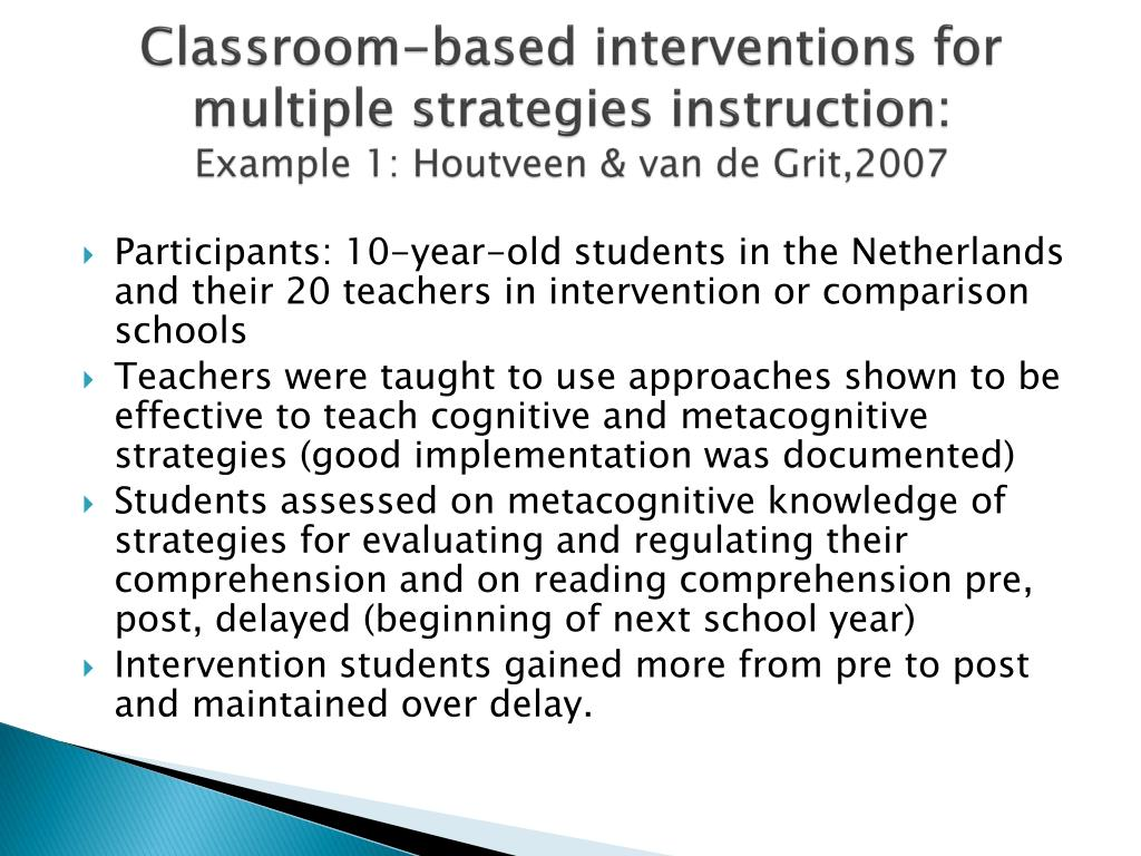 Classroom-based interventions for multiple strategies instruction: