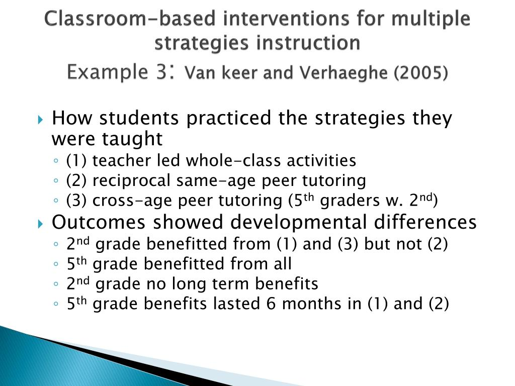 Classroom-based interventions for multiple strategies instruction