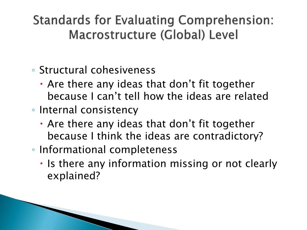 Standards for Evaluating Comprehension: