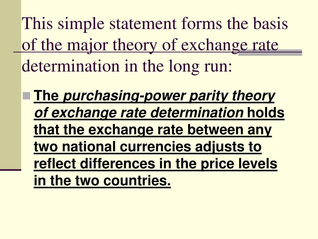 This simple statement forms the basis of the major theory of exchange rate determination in the long run: