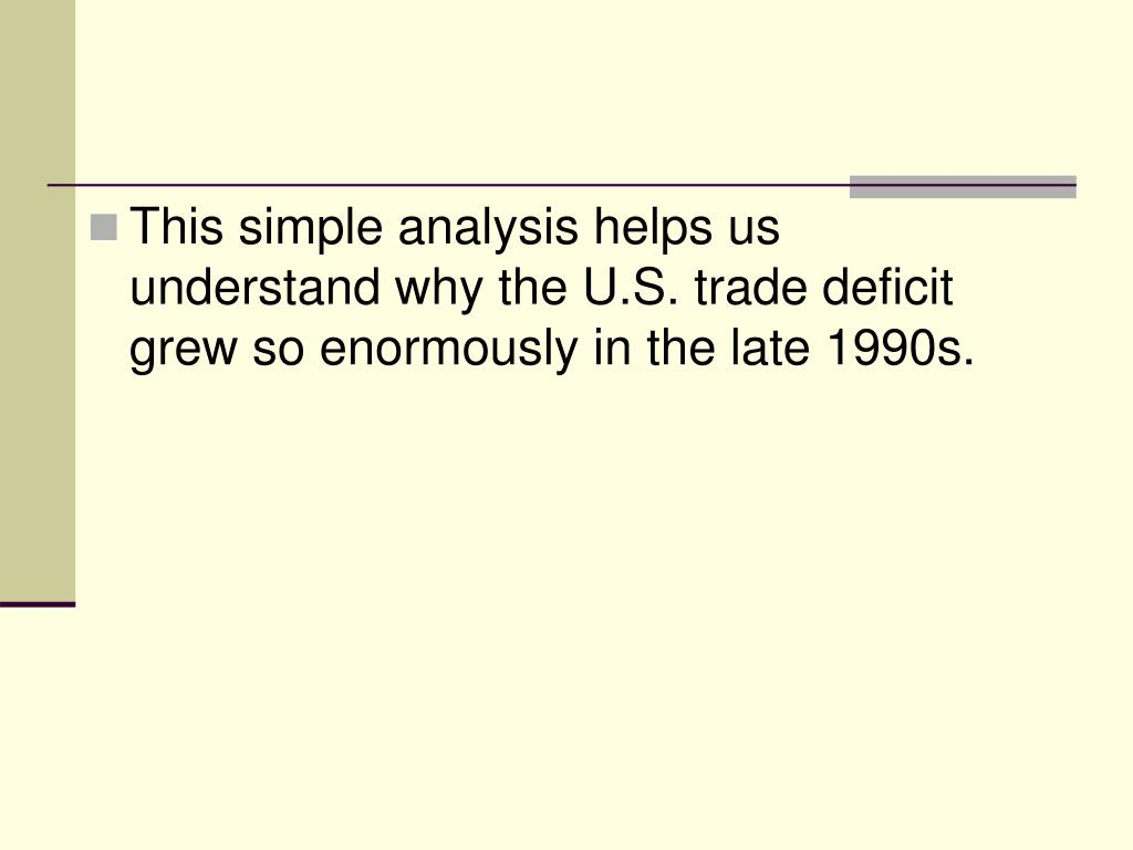This simple analysis helps us understand why the U.S. trade deficit grew so enormously in the late 1990s.
