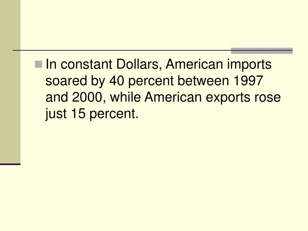 In constant Dollars, American imports soared by 40 percent between 1997 and 2000, while American exports rose just 15 percent.