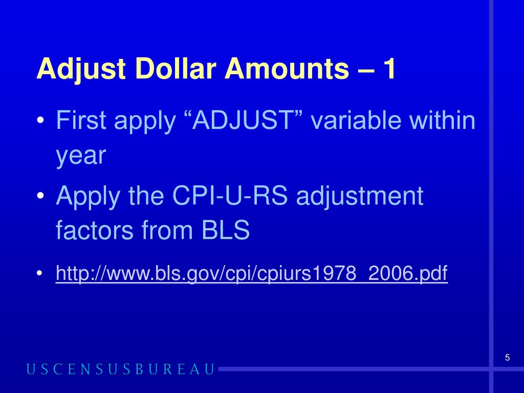 Adjust Dollar Amounts – 1