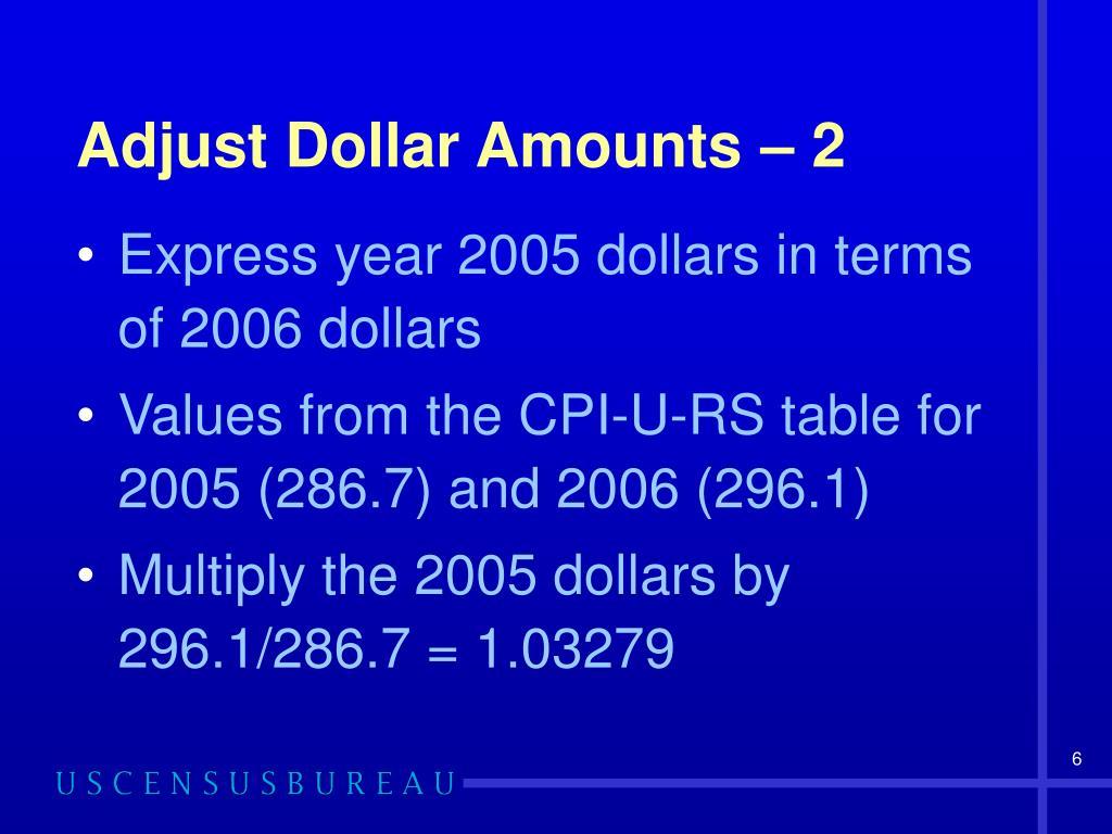 Adjust Dollar Amounts – 2