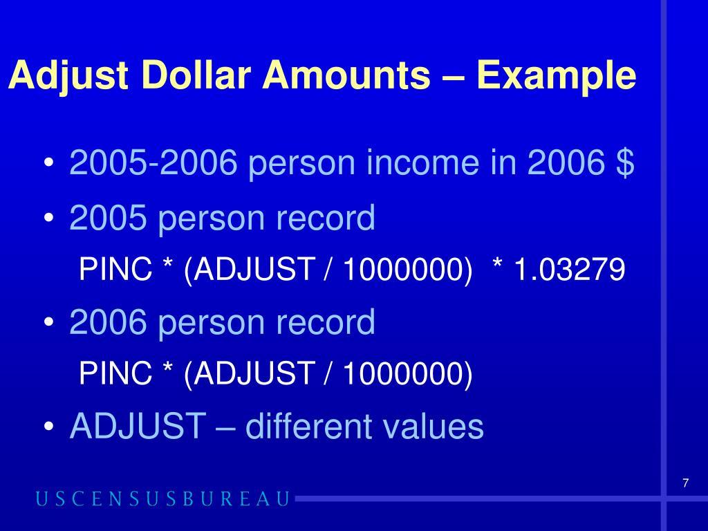 Adjust Dollar Amounts – Example