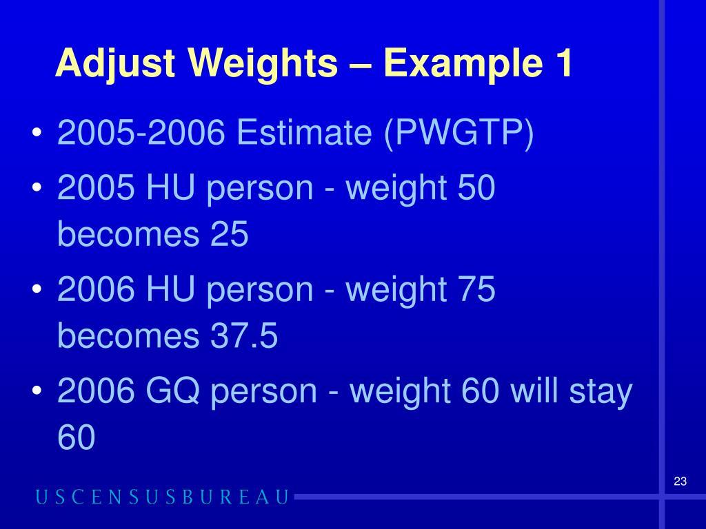 Adjust Weights – Example 1