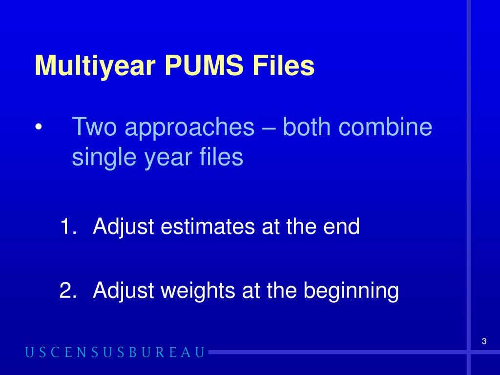 Multiyear PUMS Files