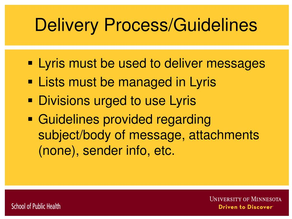 Delivery Process/Guidelines