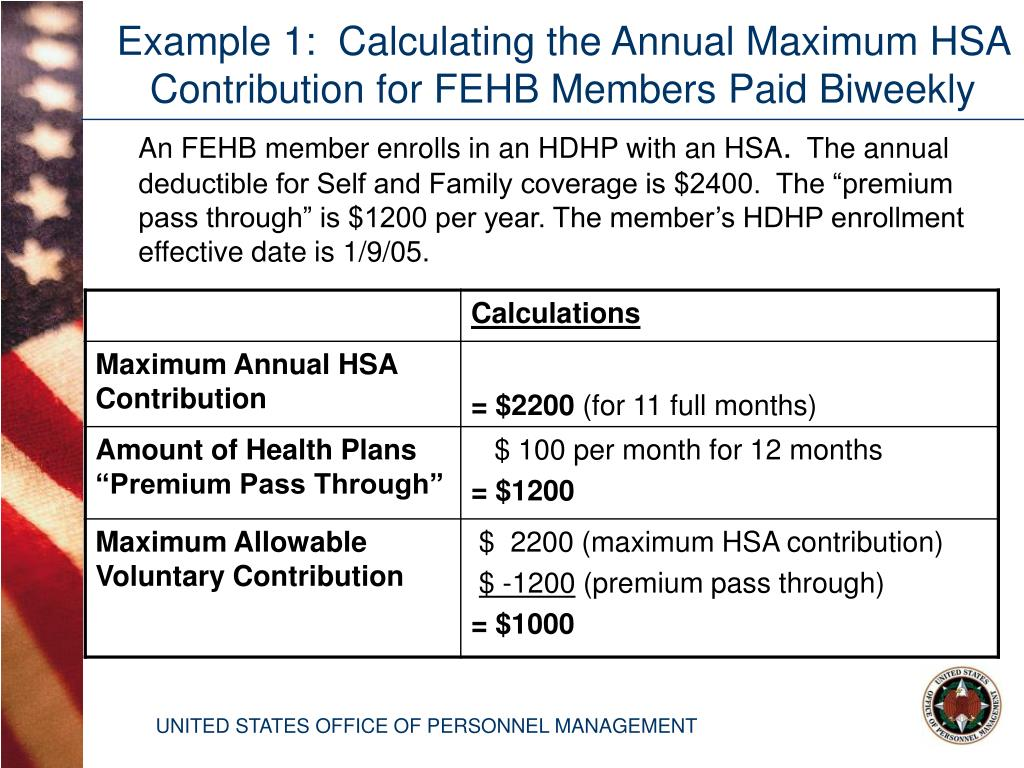 Example 1:  Calculating the Annual Maximum HSA Contribution for FEHB Members Paid Biweekly