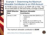 example 1 determining the maximum allowable contribution to an hsa account