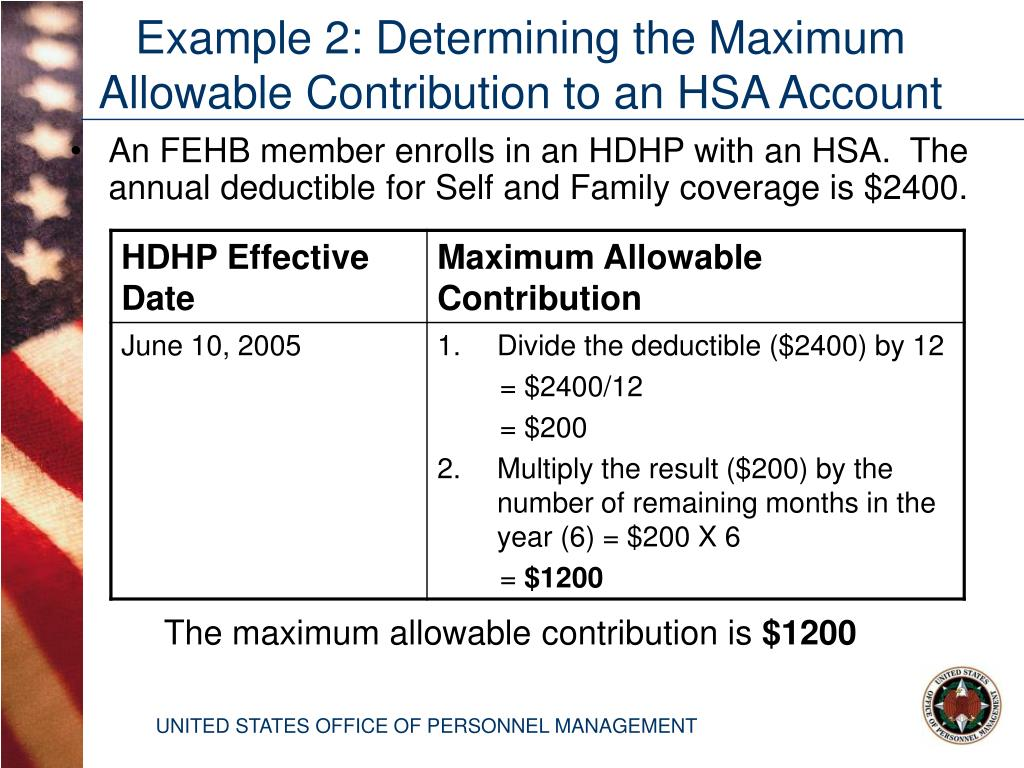 An FEHB member enrolls in an HDHP with an HSA.  The annual deductible for Self and Family coverage is $2400.