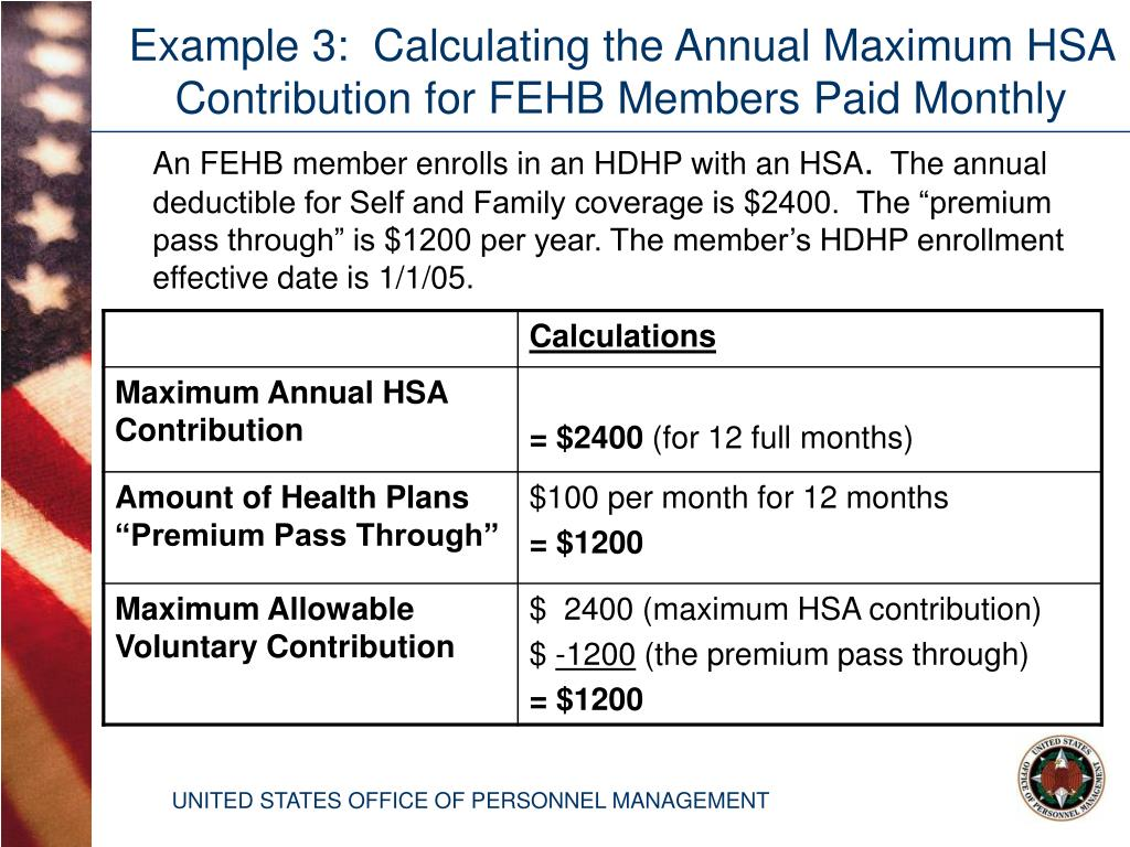 Example 3:  Calculating the Annual Maximum HSA Contribution for FEHB Members Paid Monthly