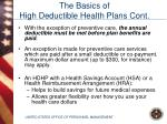 the basics of high deductible health plans cont