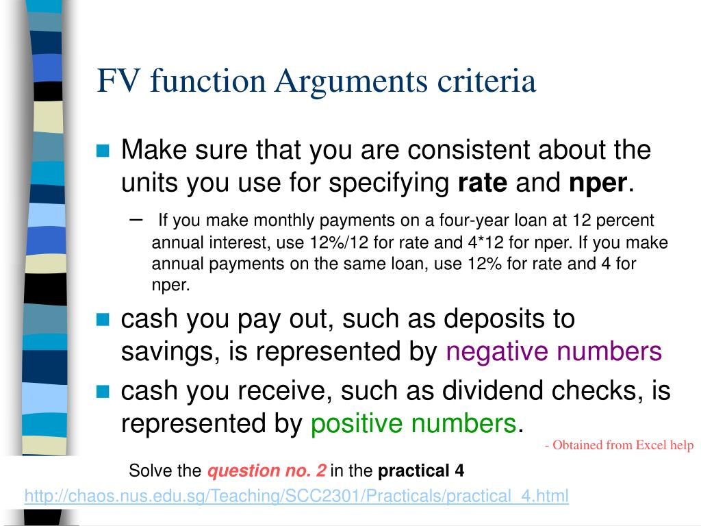 FV function Arguments criteria
