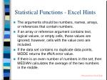 statistical functions excel hints