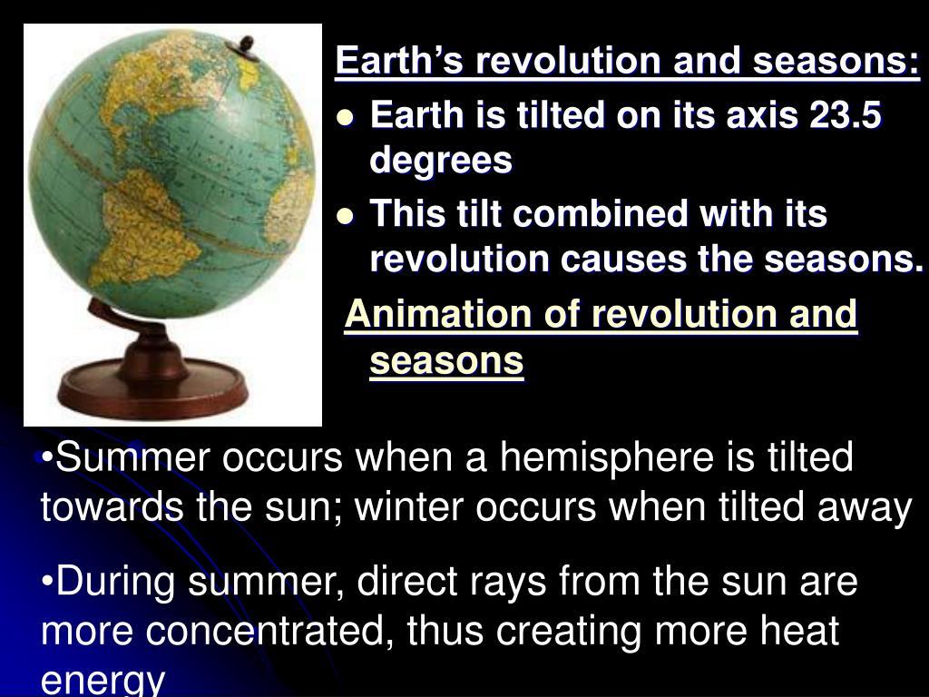 Earth's revolution and seasons: