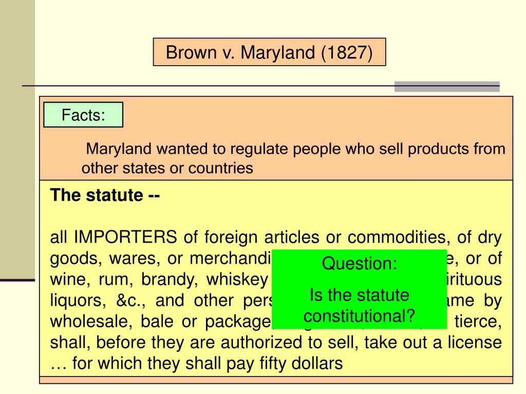 Brown v. Maryland (1827)