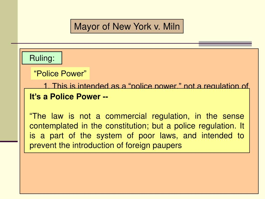 Mayor of New York v. Miln