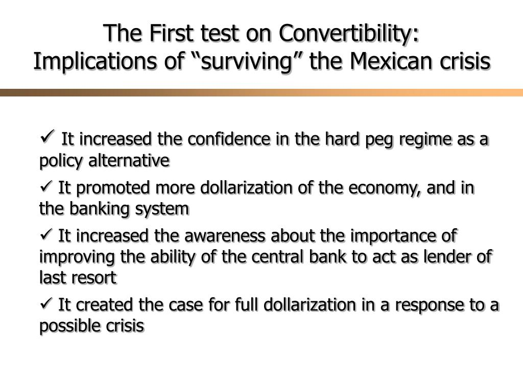 The First test on Convertibility: